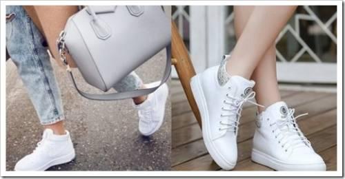 С чем носить белые кожаные женские кеды
