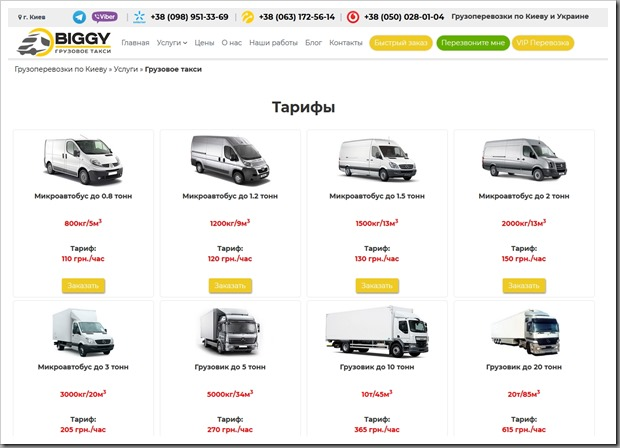 Обзор услуг грузового такси в Киеве от компании Biggy